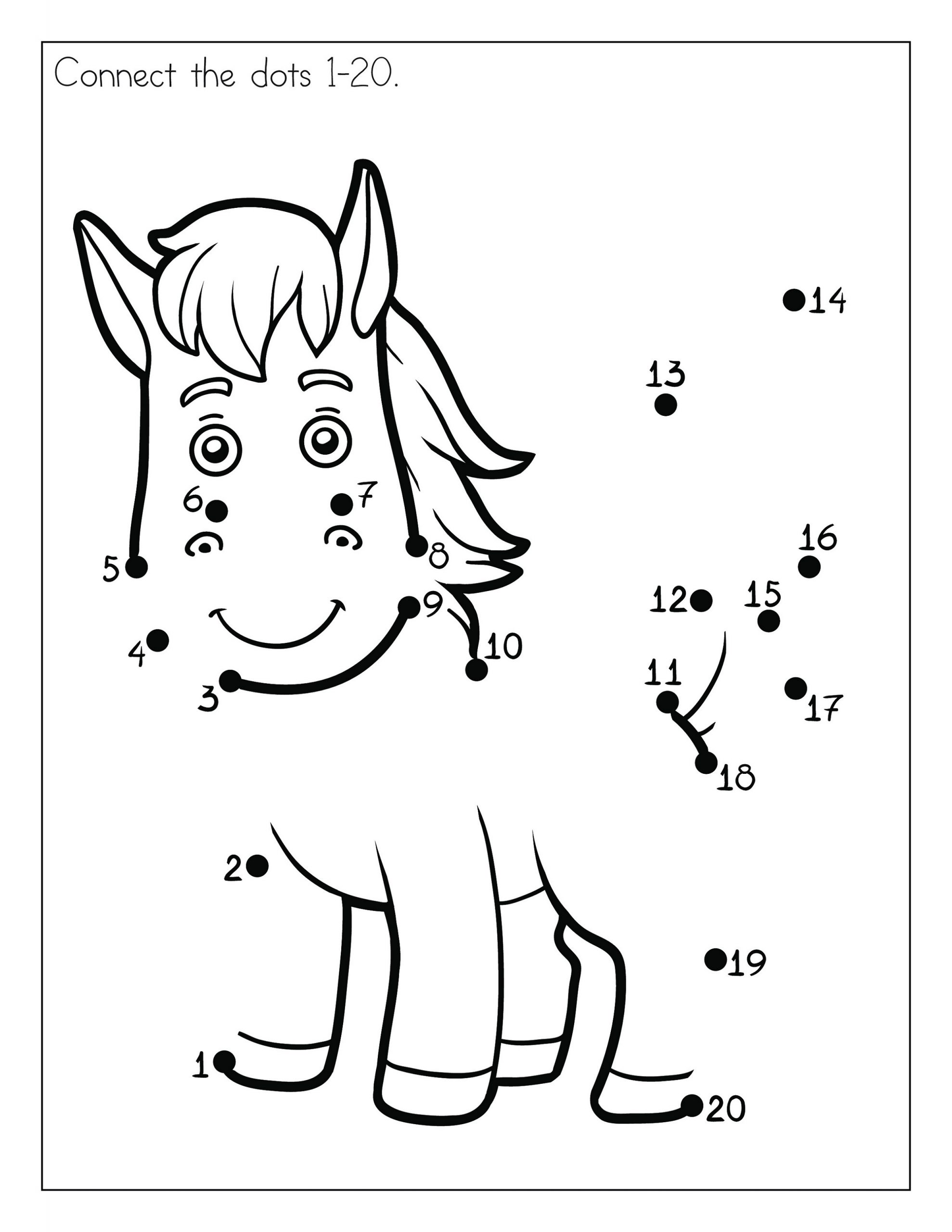 Horse Connect The Dots For Kids
