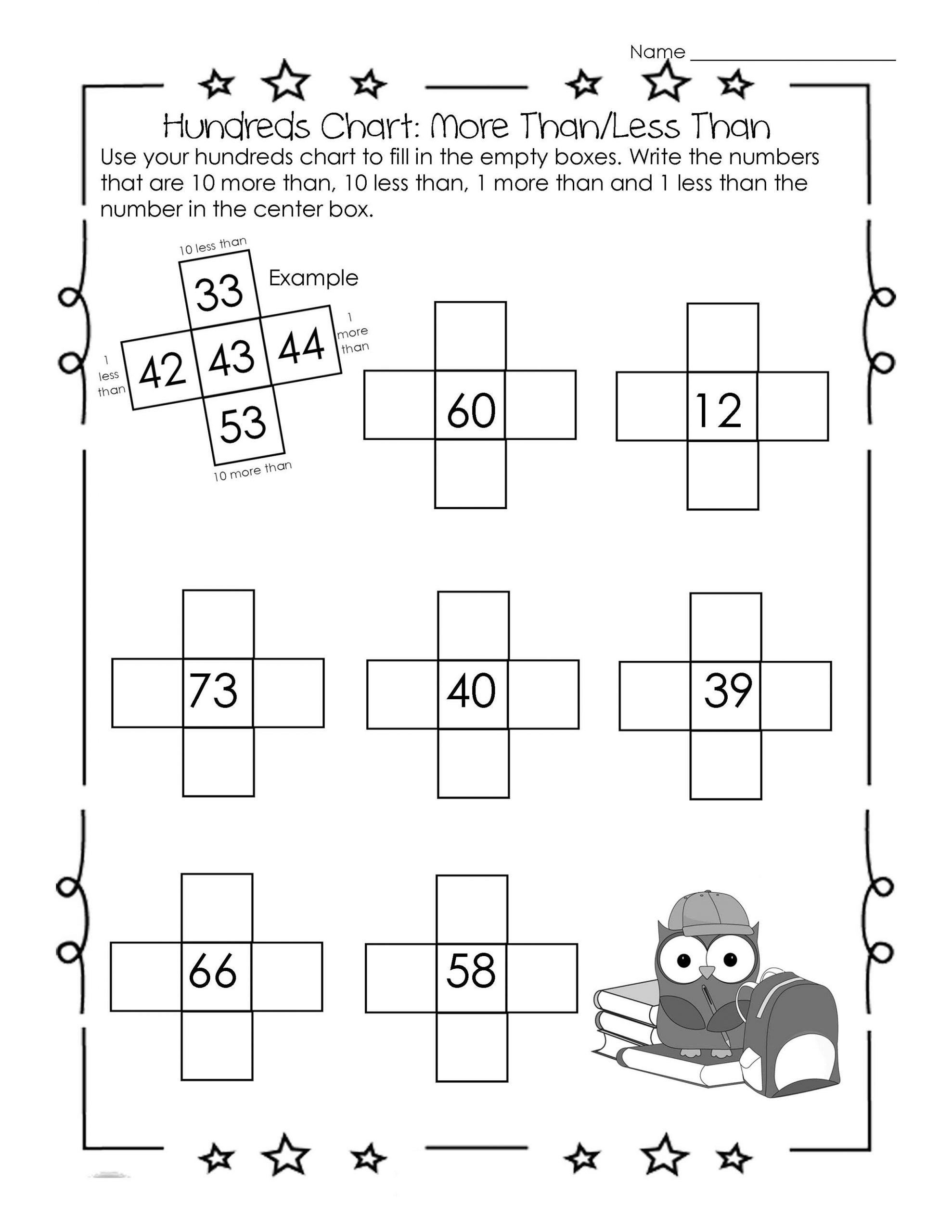 Hundreds Chart More And Less Worksheets