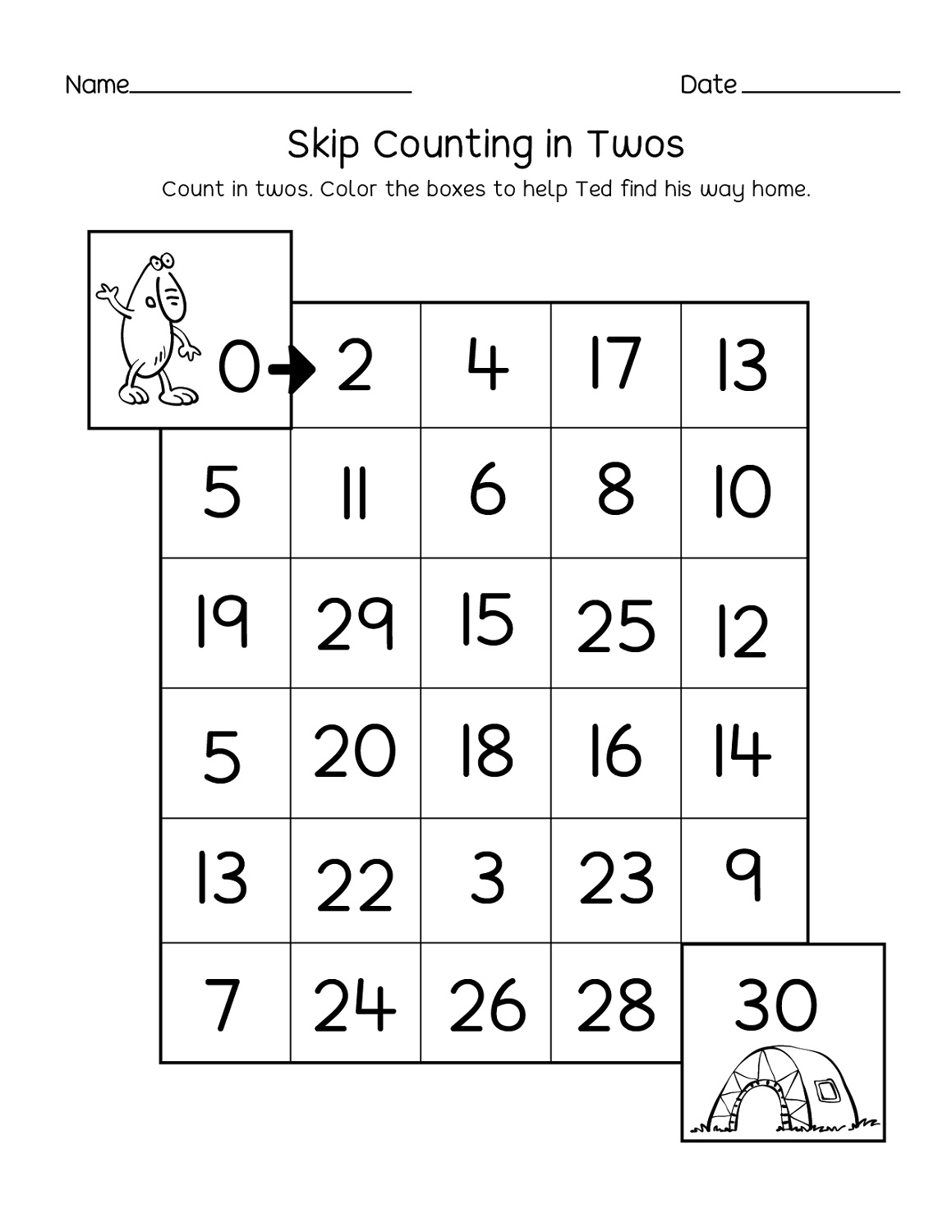 Maze Count By 2s Worksheet