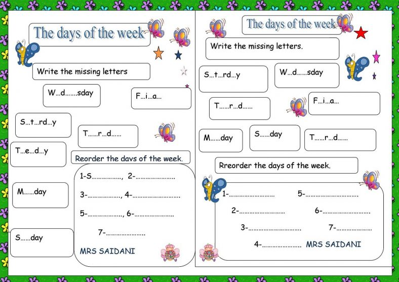 Missing Days Of The Week Worksheet