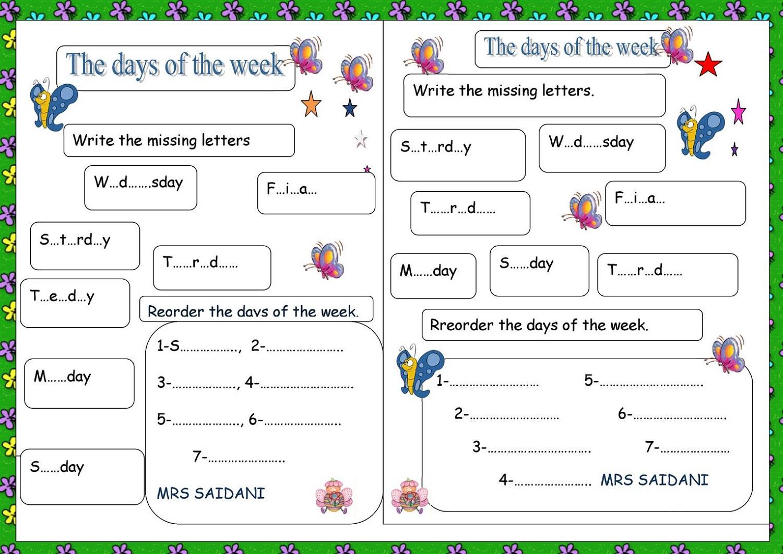 Missing Days Of The Week Worksheet