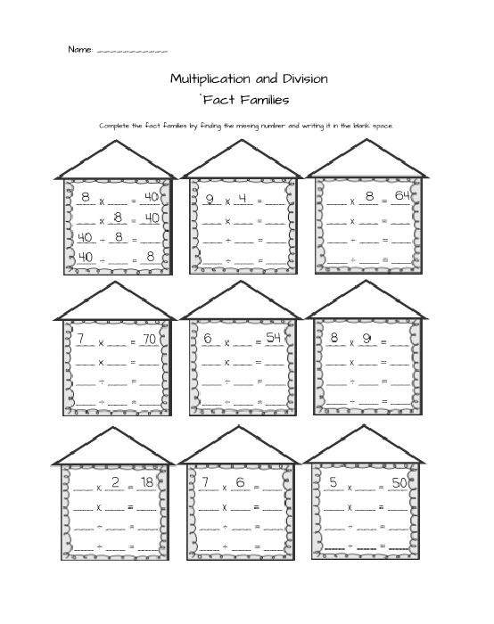 Multiplication Fact Family Worksheets For First Grade