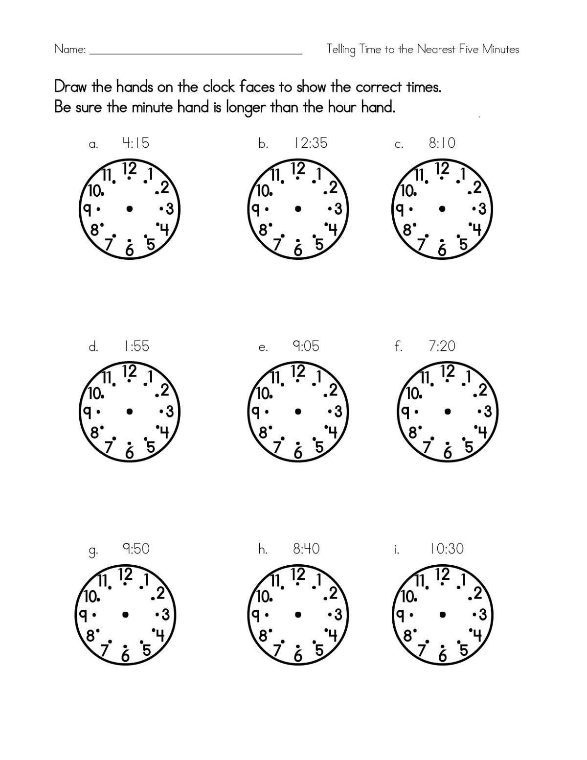 Printable Blank Clock Face Worksheet