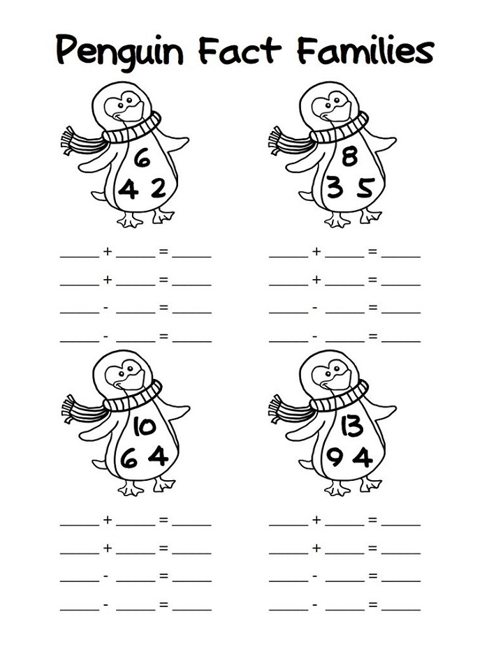 Printable Fact Family Worksheets For First Grade