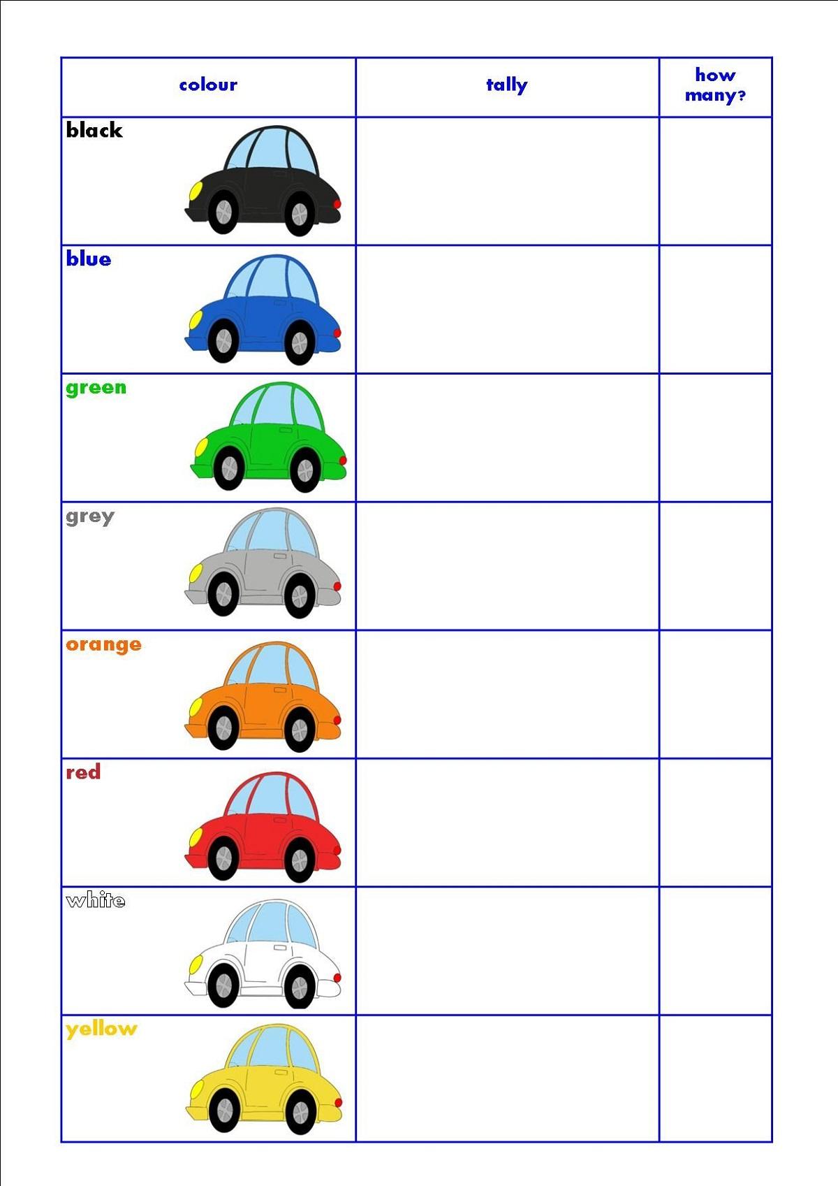 Printable Tally Chart Worksheets