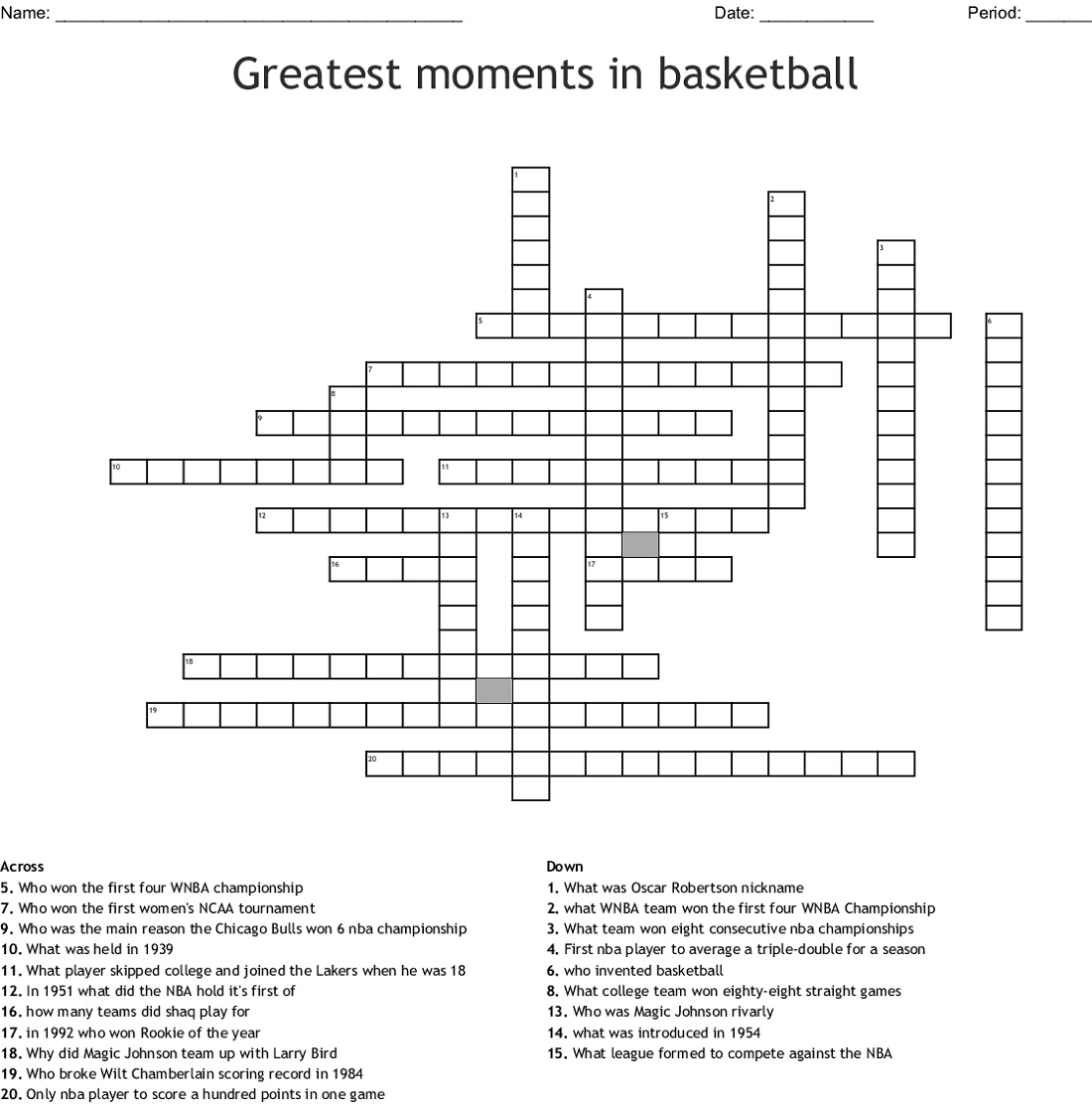 Public Basketball Crossword Puzzle