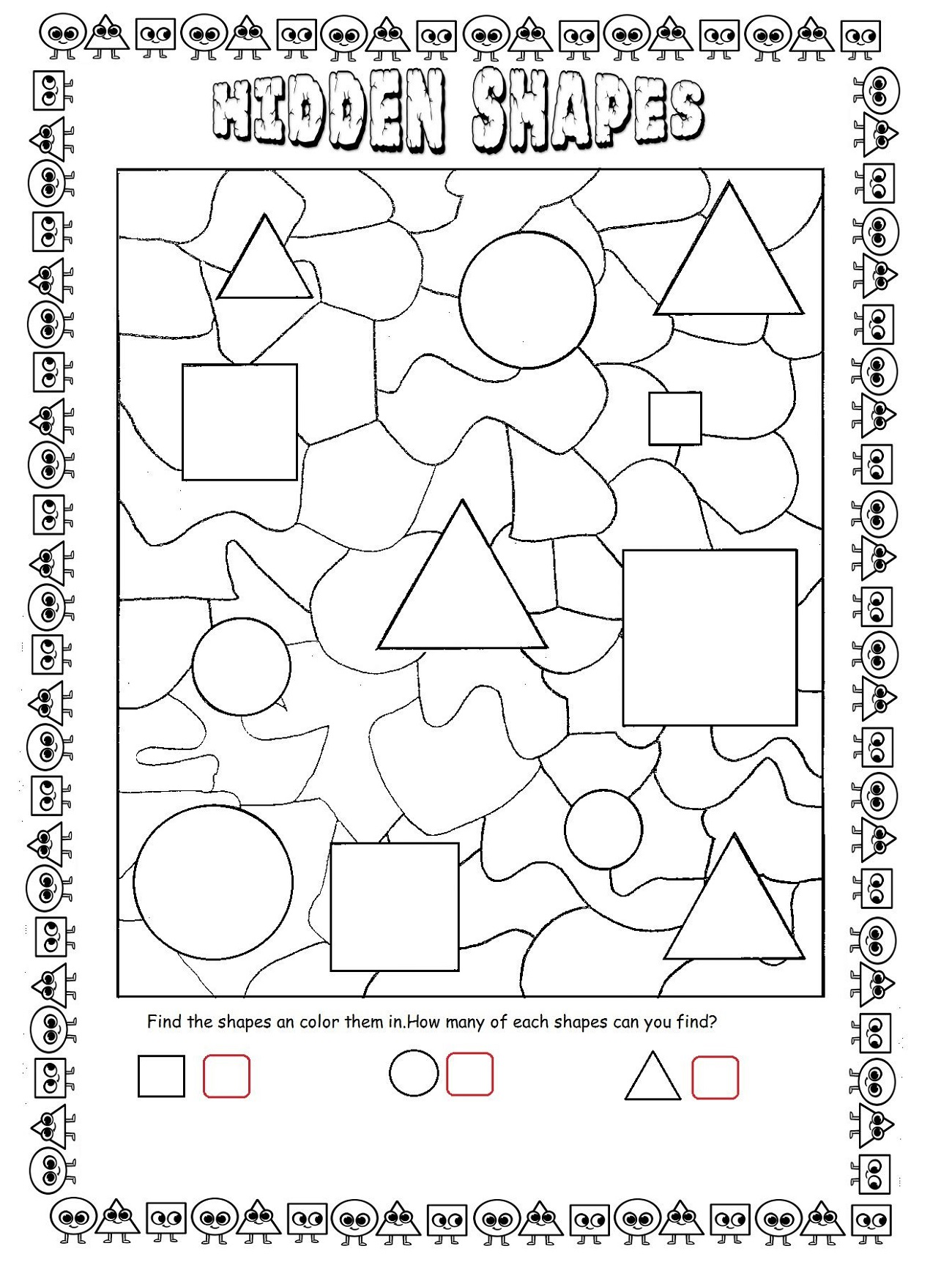 Shapes Hidden Picture Math Worksheets