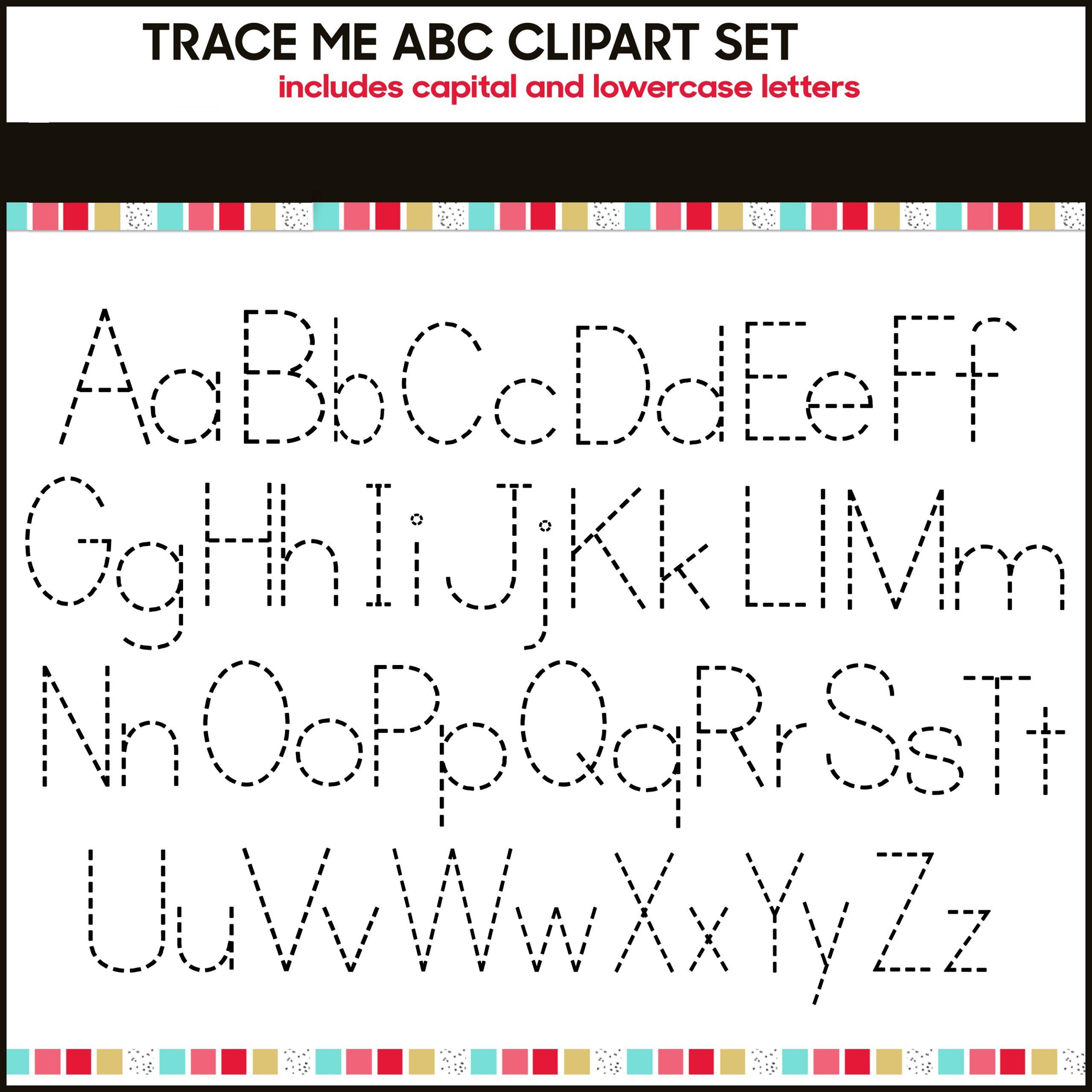 Traceable Alphabet Worksheets A-Z Clipart