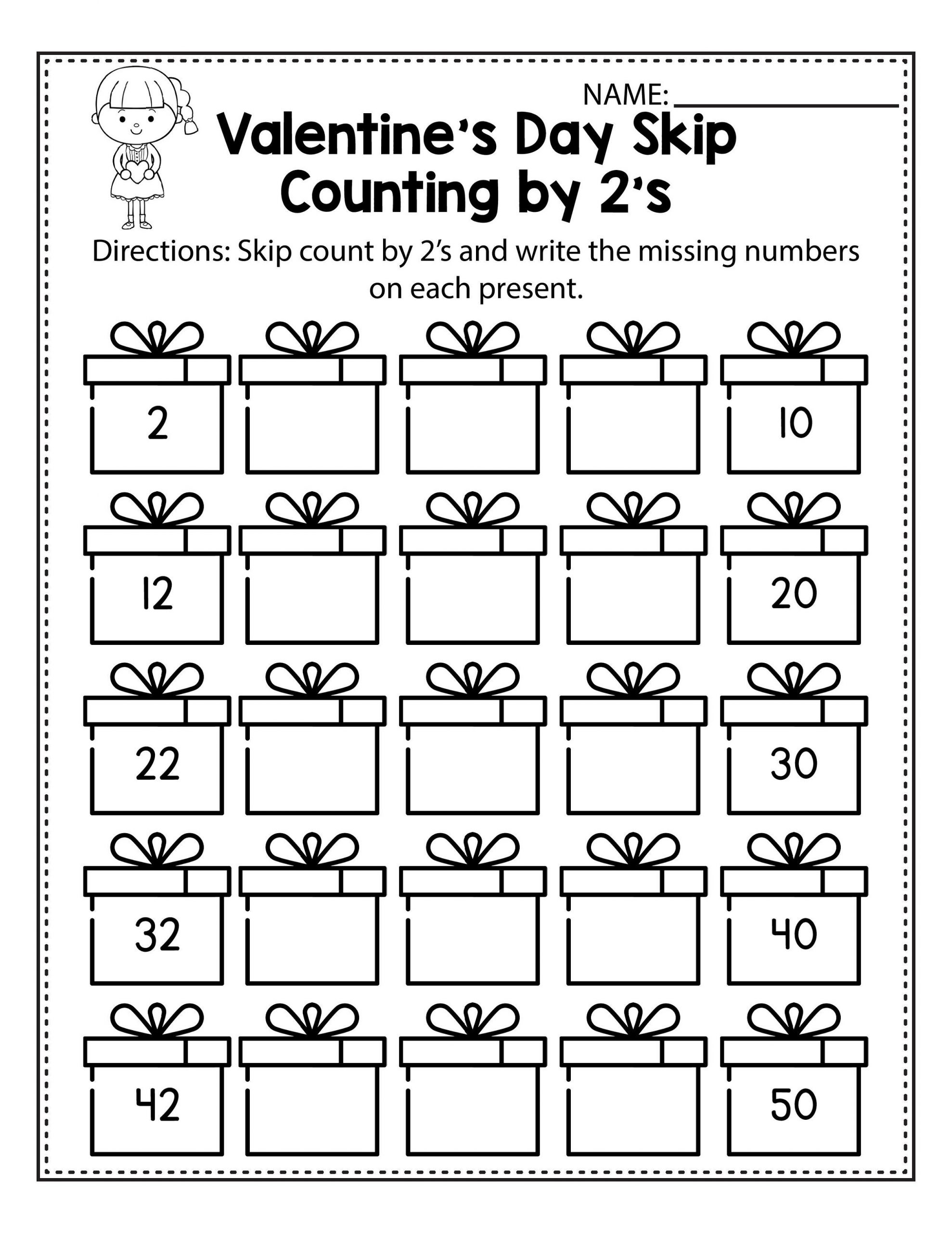 Valentine's Day Count By 2s Worksheet