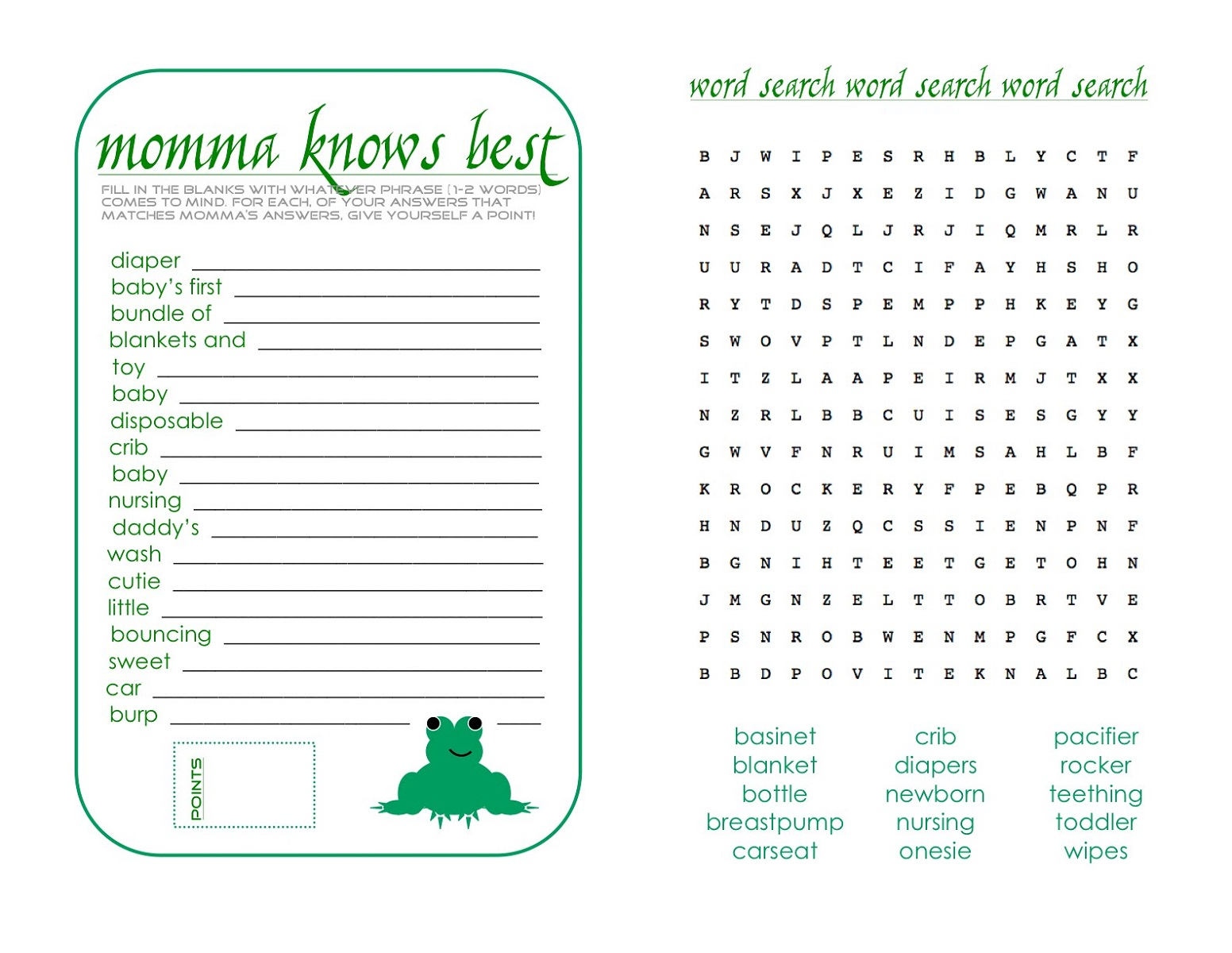 Word Search Baby Shower Games To Print