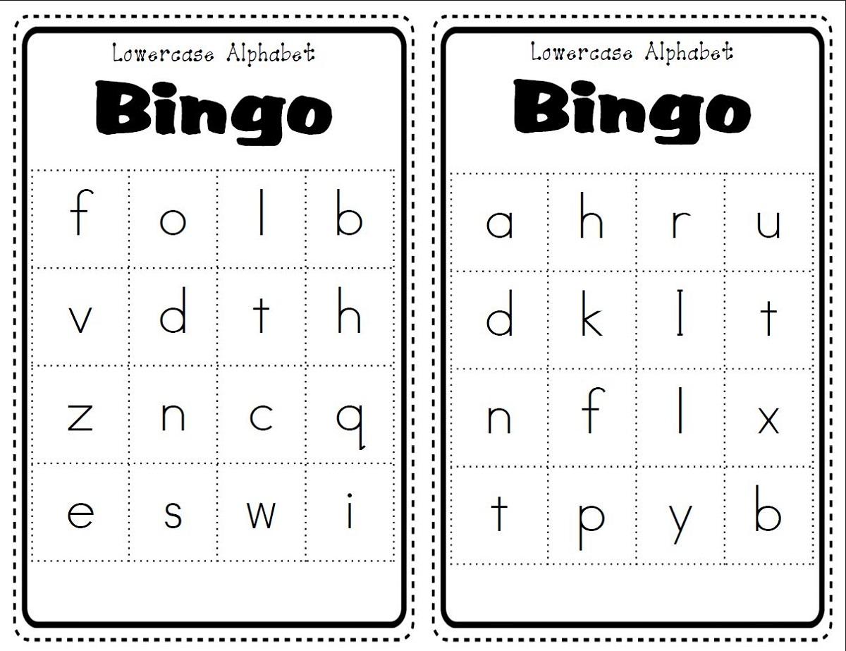 Bingo Lower Case Alphabet Worksheets