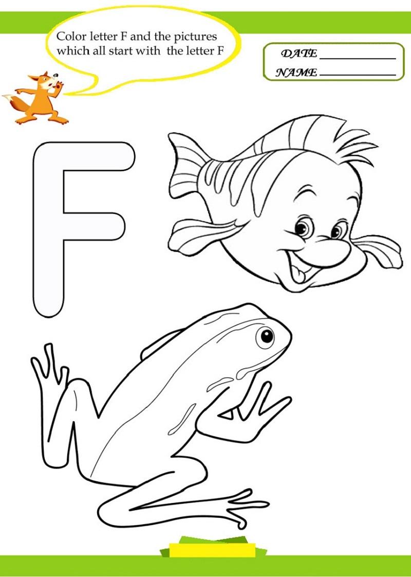 Coloring Letter F Worksheet
