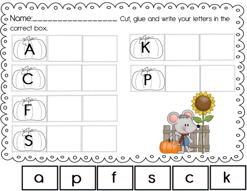 Fall Free Abc Worksheets For Pre-K