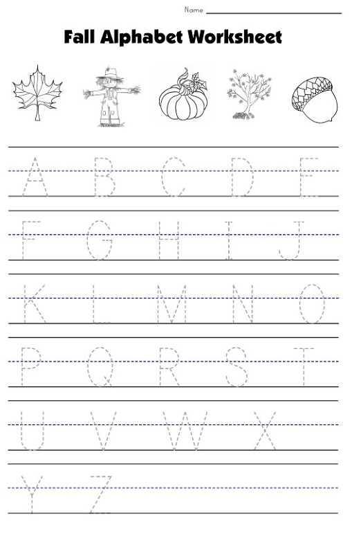 Fall Free Traceable Alphabet Worksheets