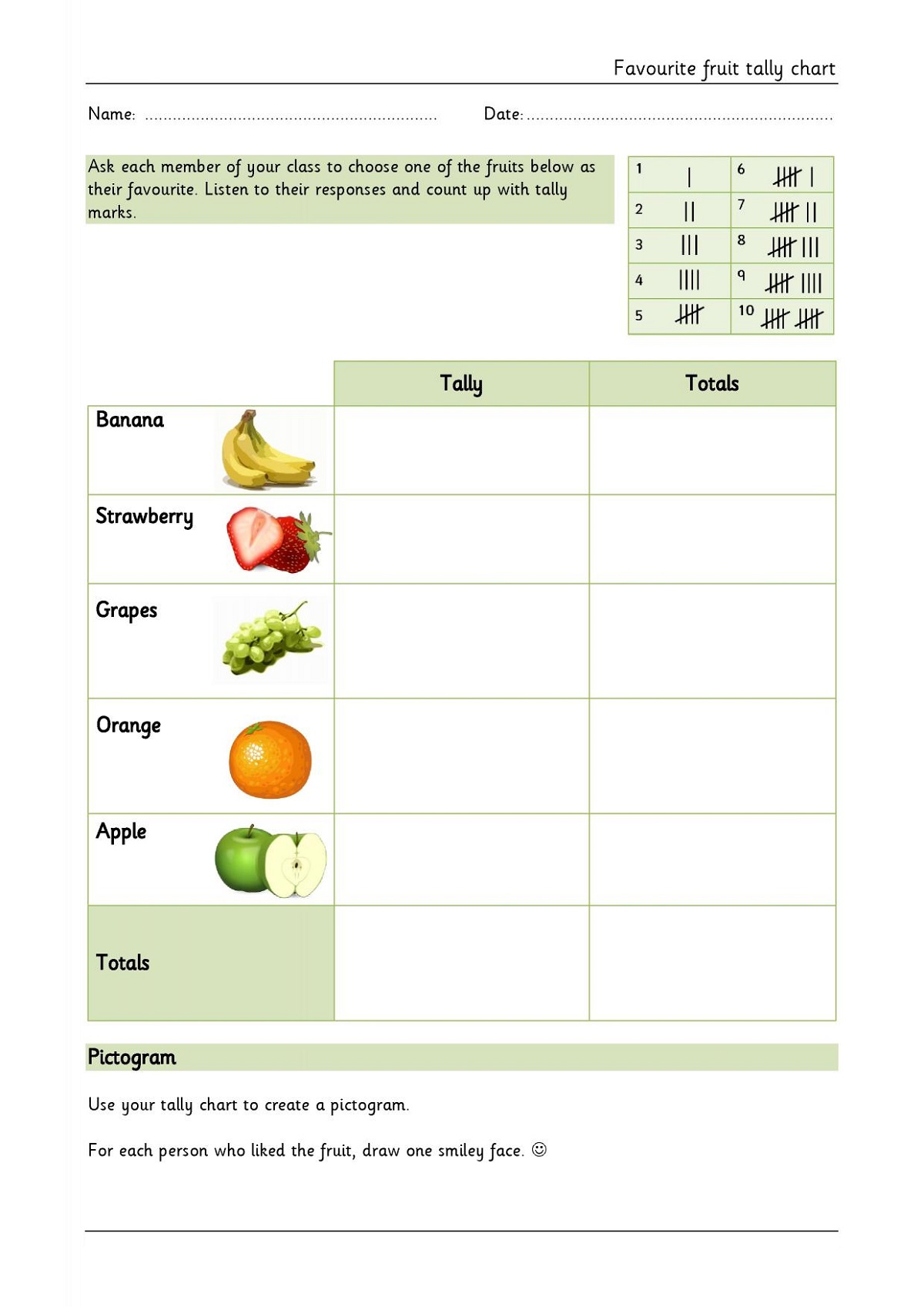 Fruit Tally Mark Worksheets