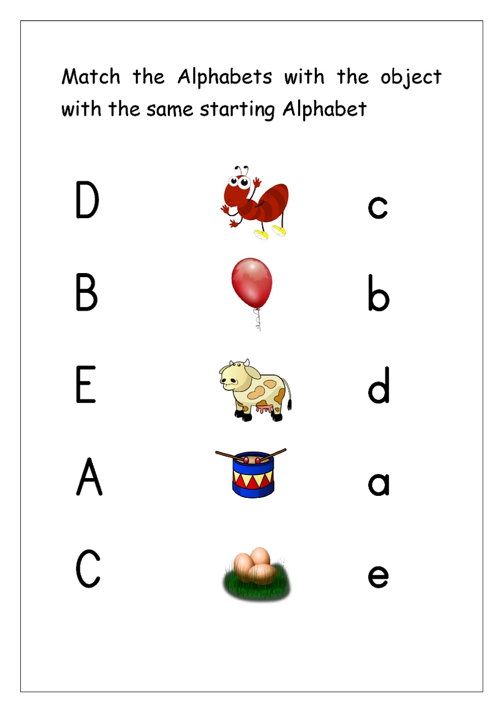 Matching Alphabet Worksheets For Preschoolers