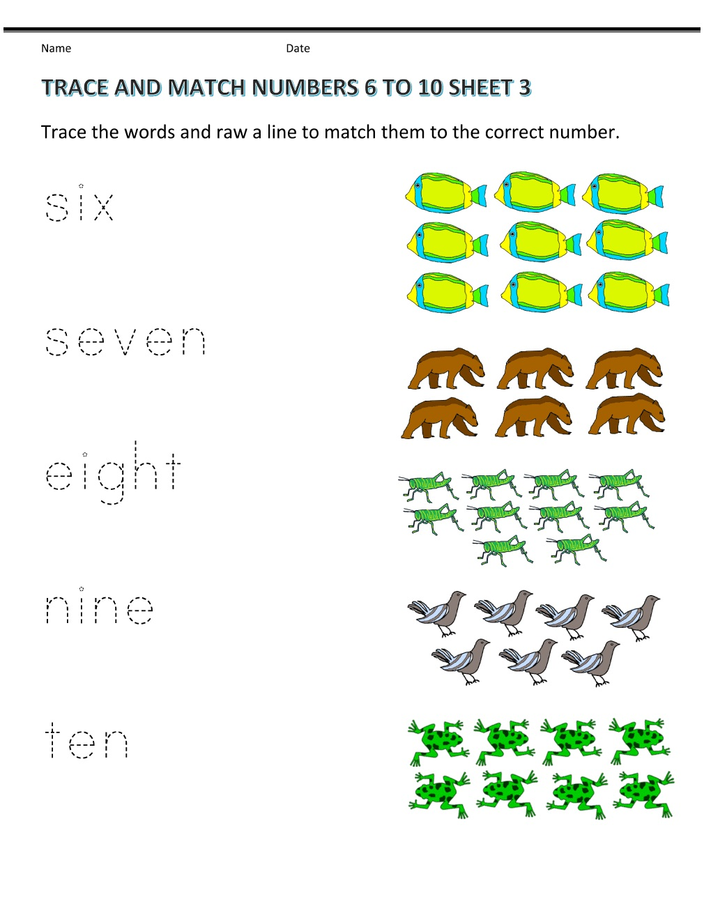 Matching Pre K Worksheets Numbers
