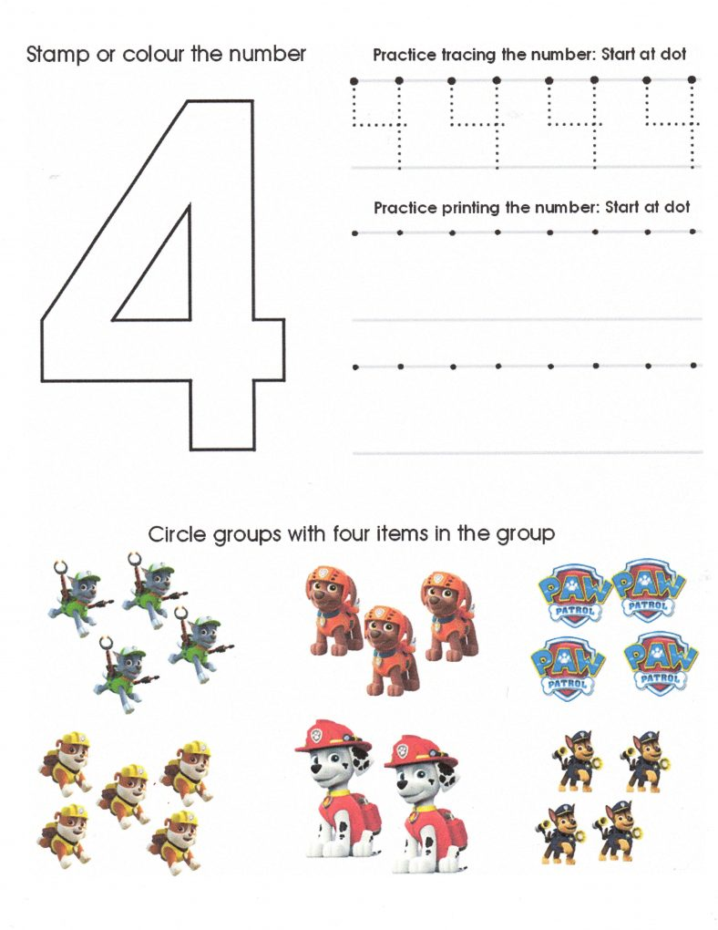 Number 4 Worksheets for Preschool