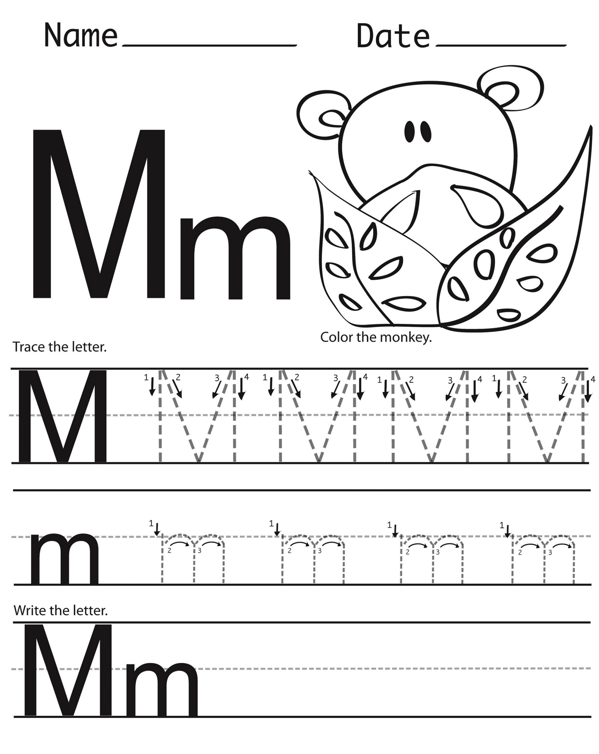 Printable Letter M Worksheets