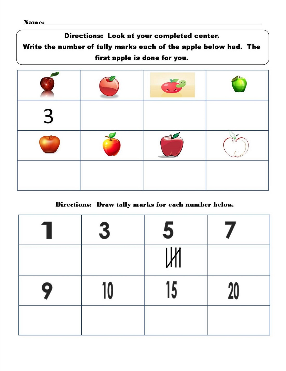 Printable Tally Mark Worksheets