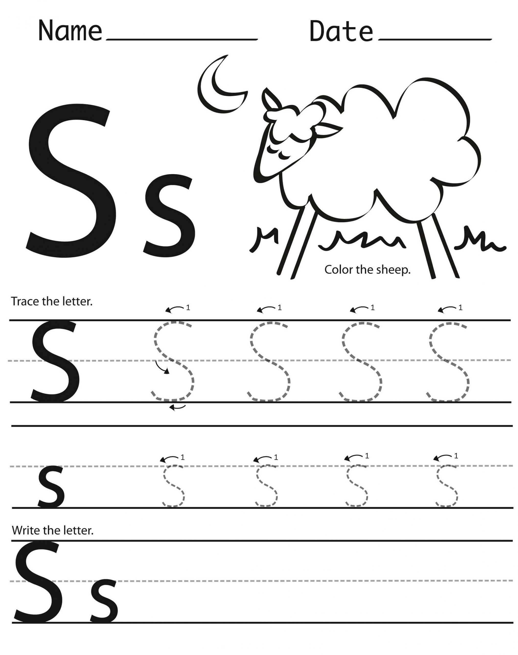 Trace Letter S Worksheet