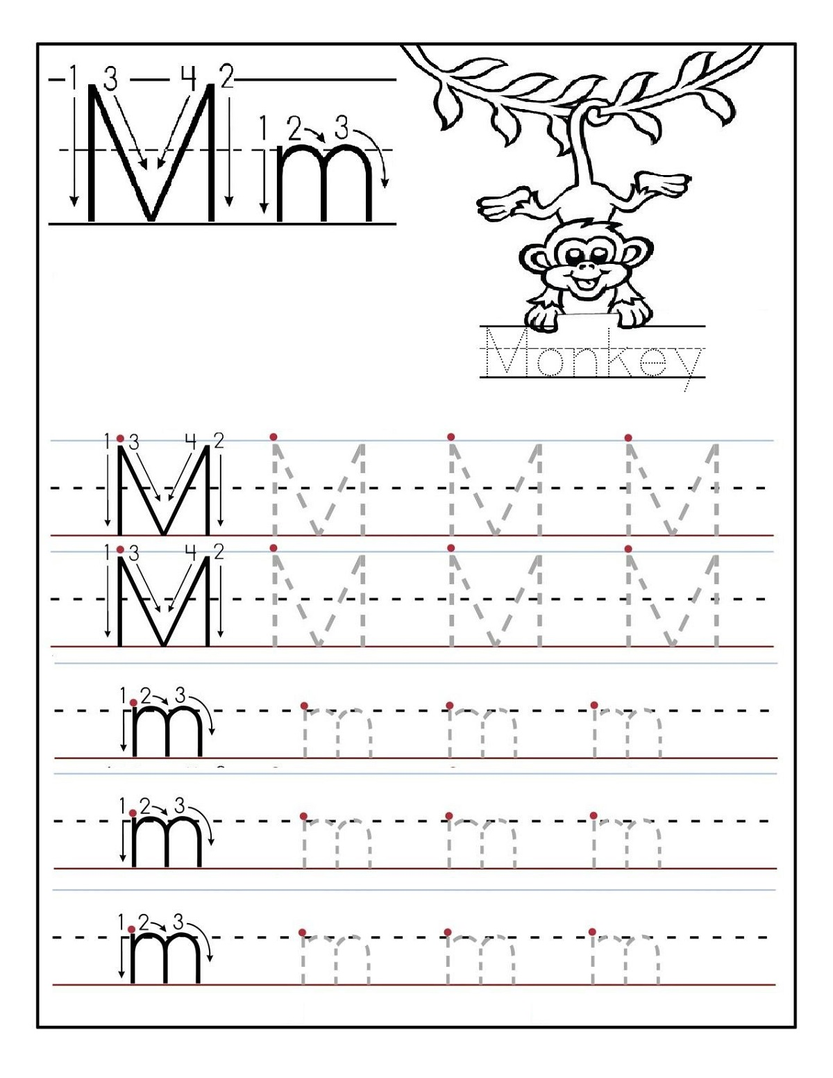 Tracing Letter M Worksheets