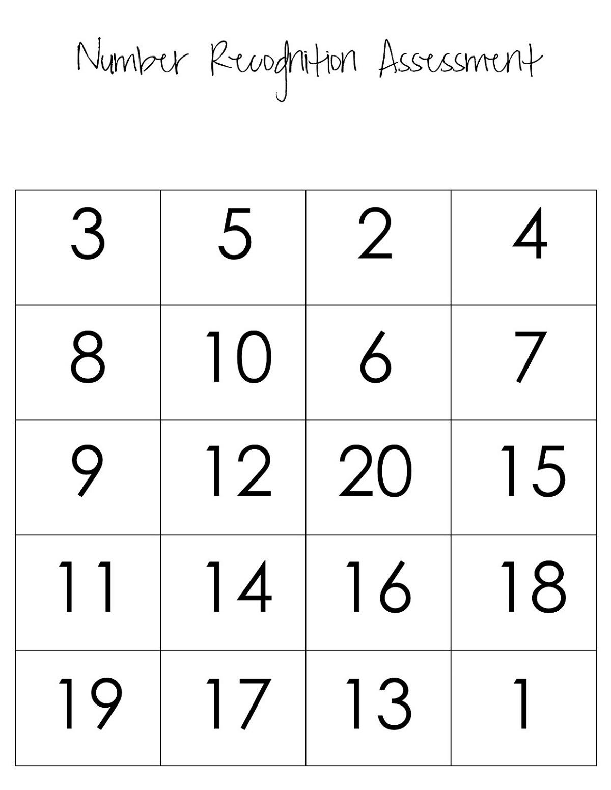 1-20 Number Chart Worksheet