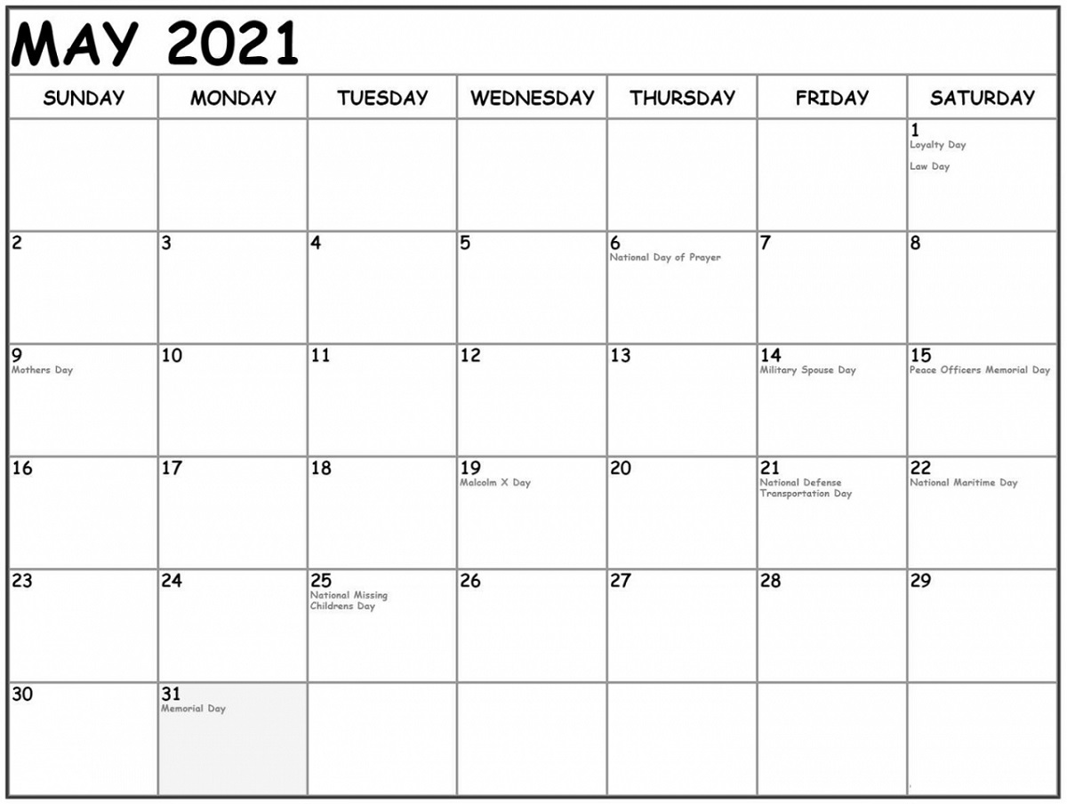 2021 Monthly Calendar Printable with Holiday