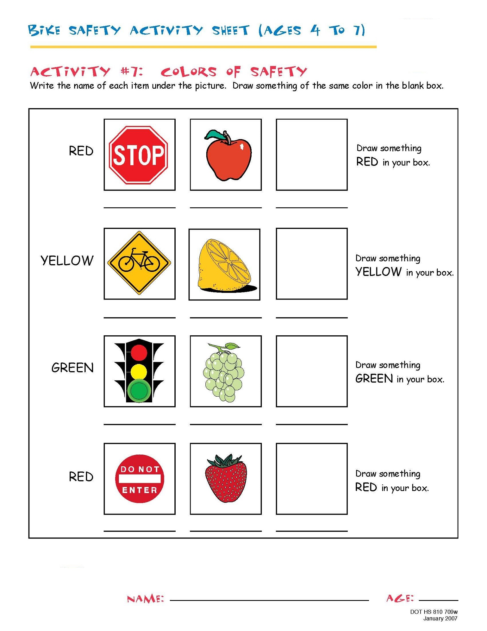 Bike Safety Worksheets For 4 Year Olds