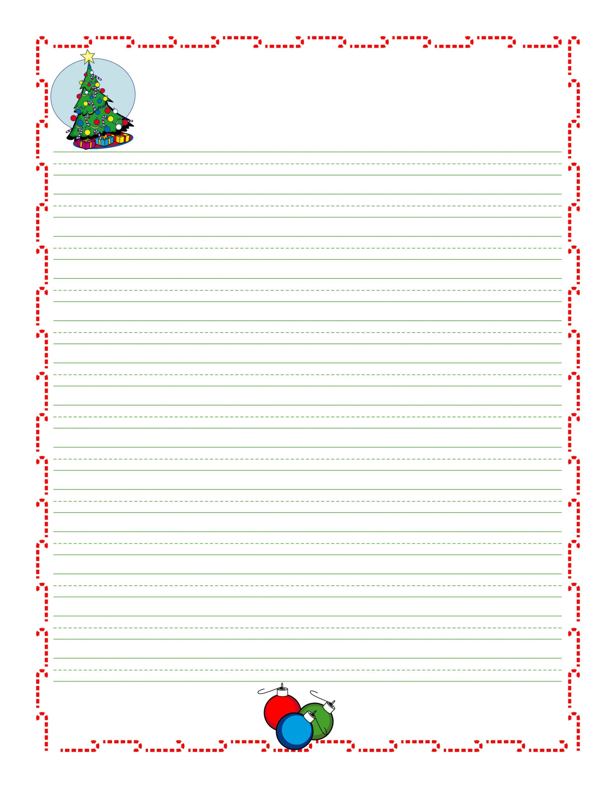 Christmas Lined Paper For Kids