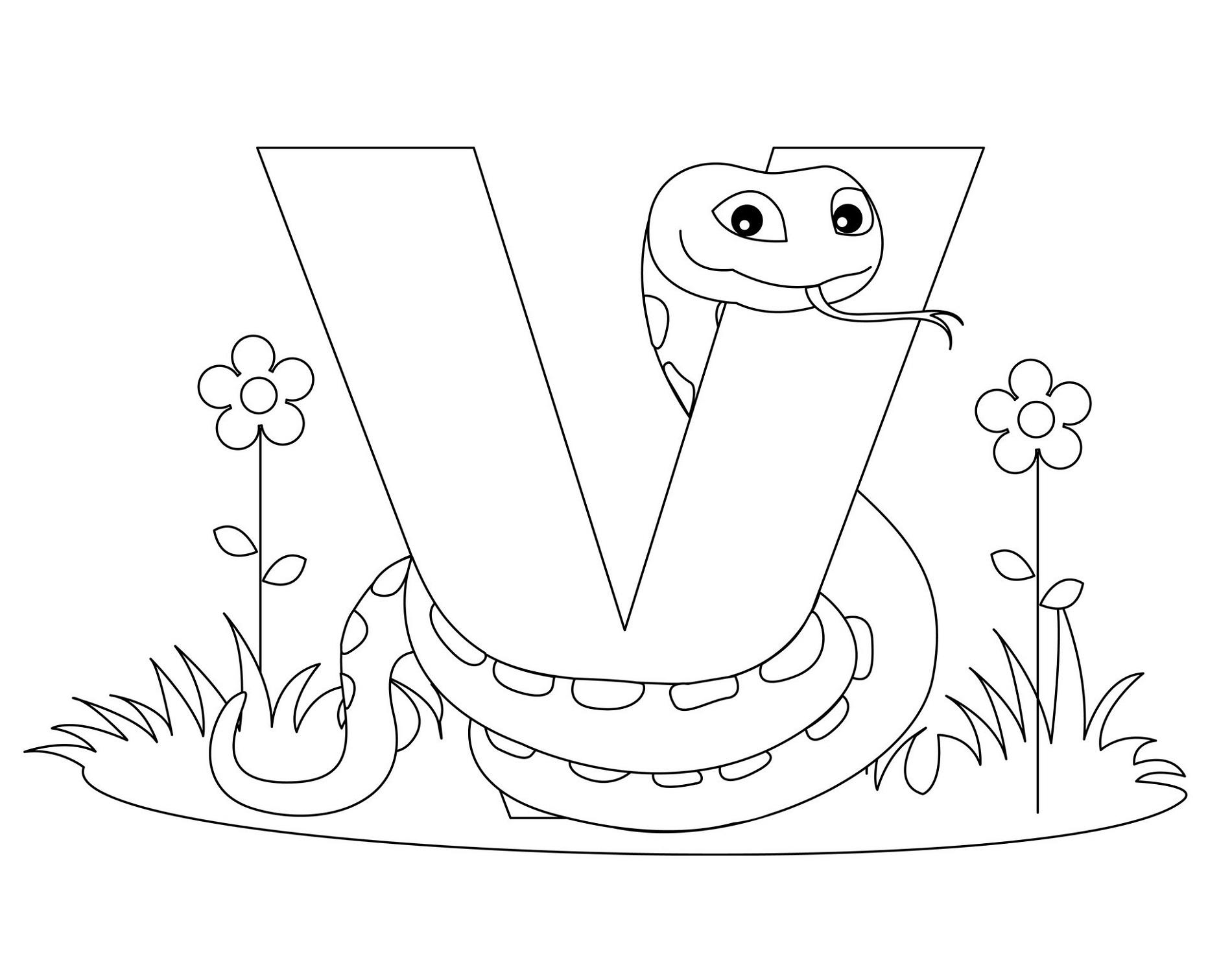 Coloring Letter V Worksheets