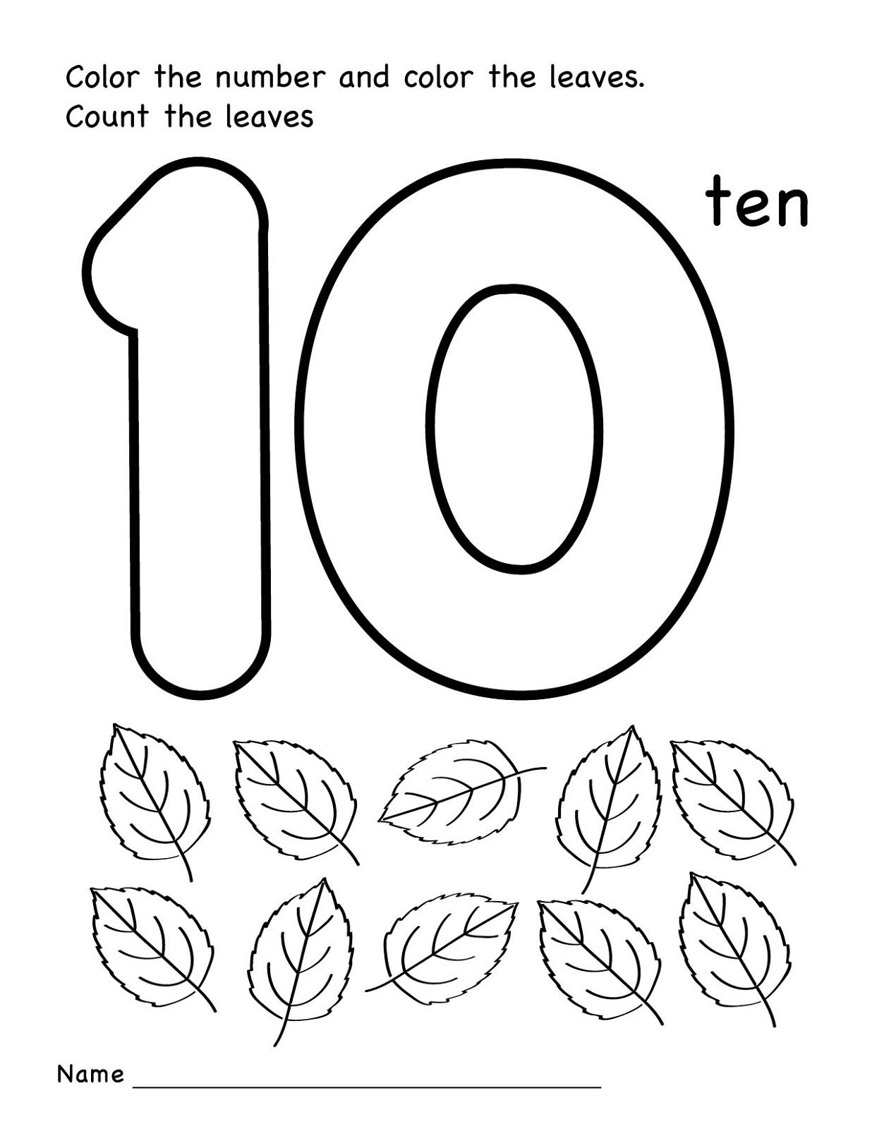 Coloring Number 10 Worksheets