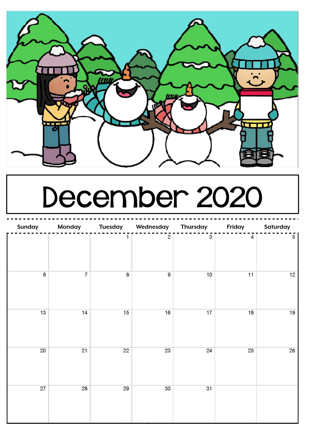 December 2021 Calendar for Kids