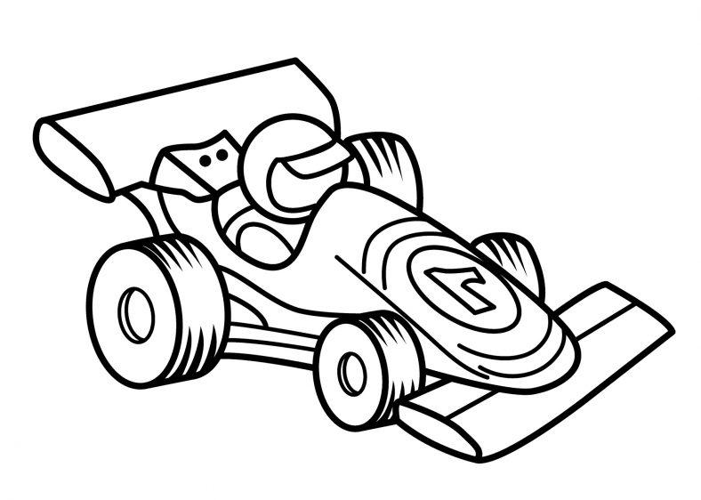 Easy Race Car Color Pages
