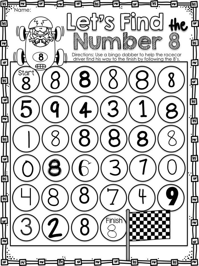 Find The Number 8 Worksheets
