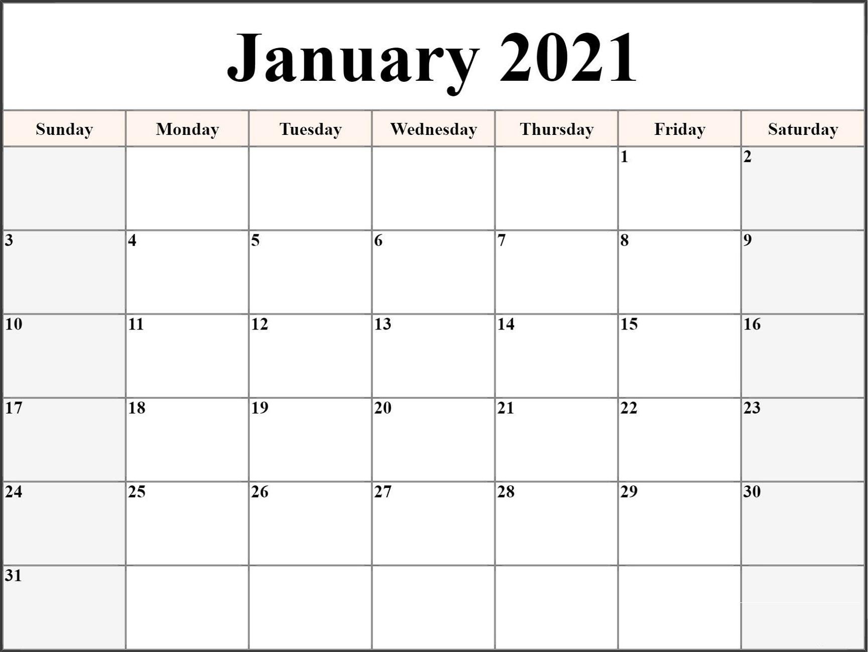 Free 2021 Monthly Calendar Printable