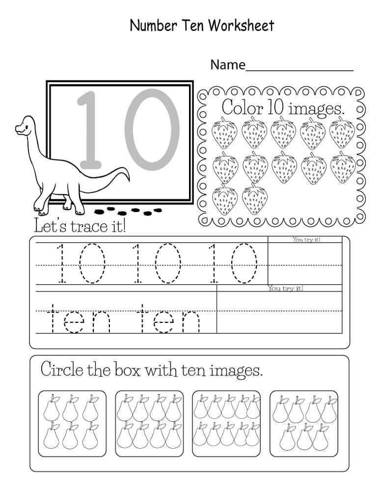 Free Number 10 Worksheets