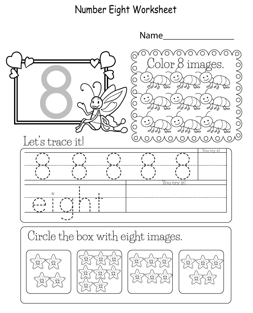 Fun Number 8 Worksheets