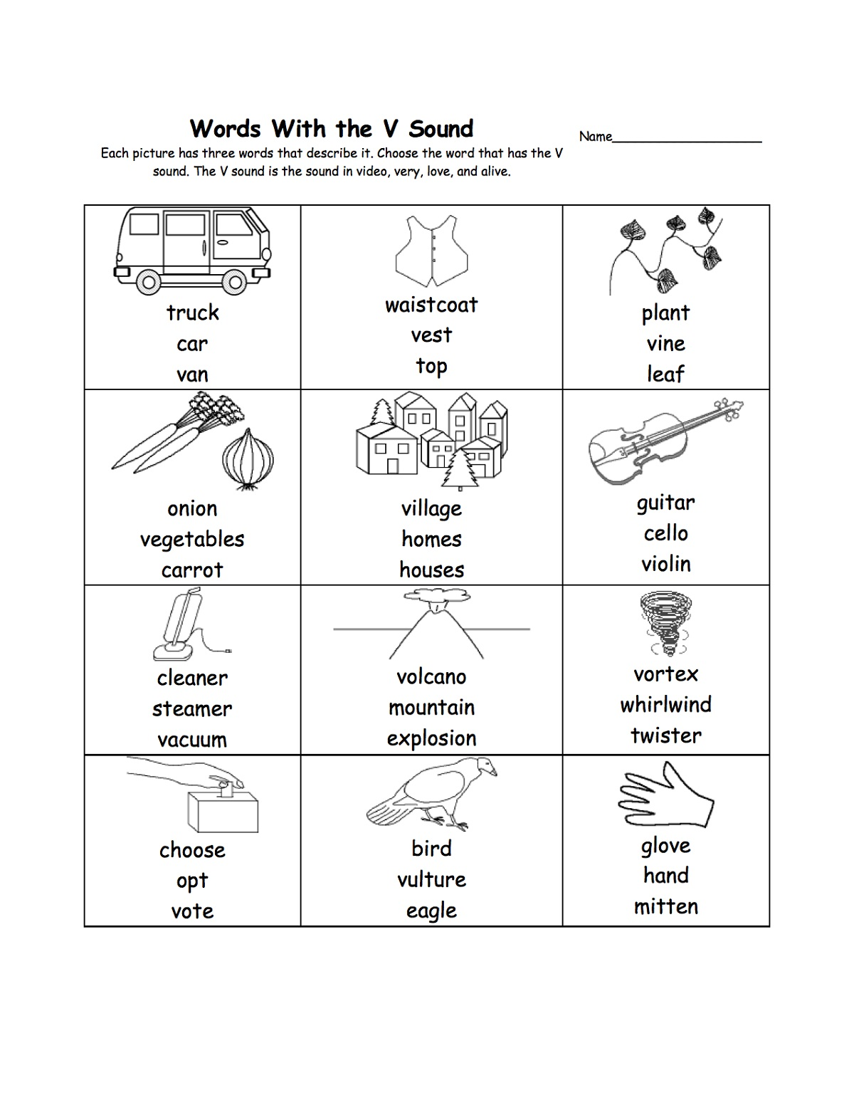 Letter V Worksheets Activities