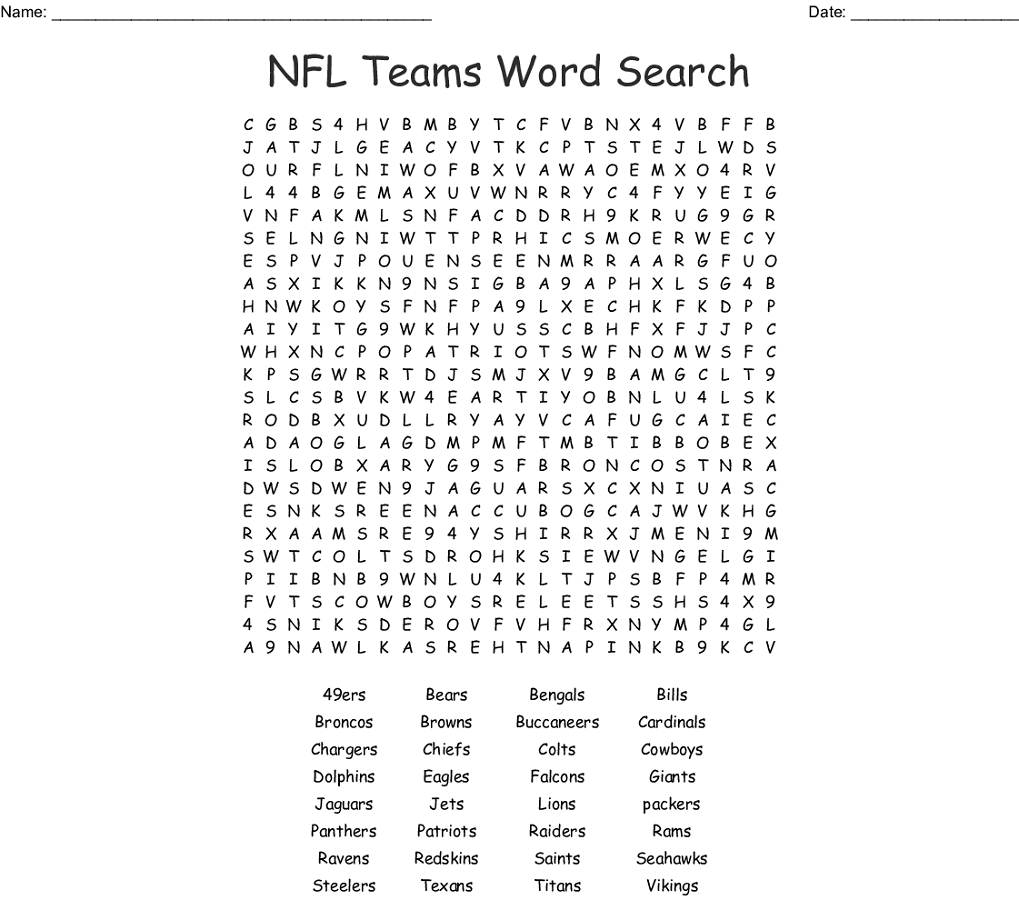 Nfl Word Search Football Team Word Search