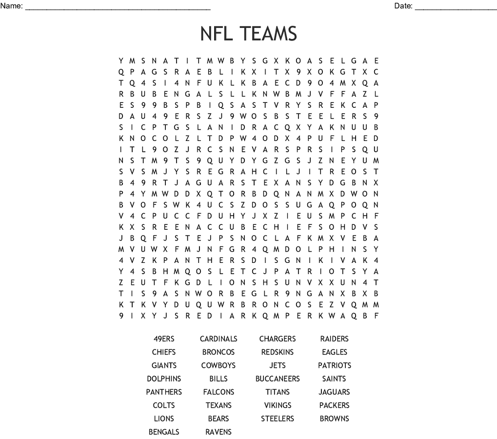 Nfl Word Search Football Team