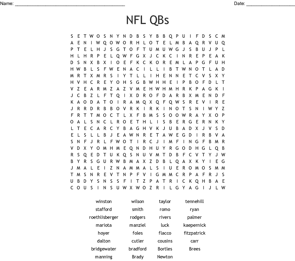 Nfl Word Search Qbs