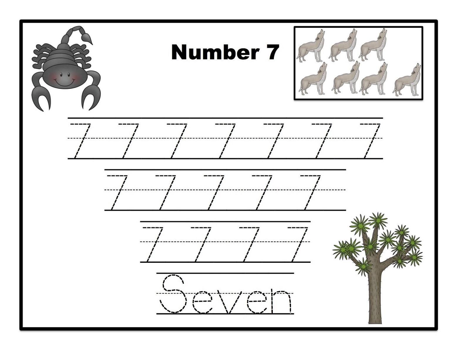 Number 7 Worksheets for Preschool