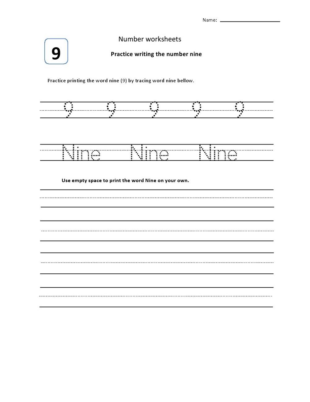 Number 9 Worksheets for Kindergarten