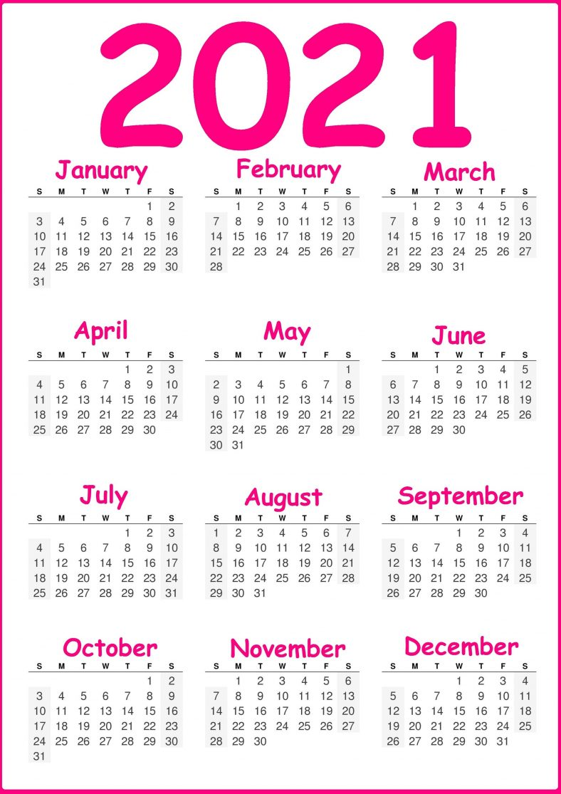 Pink Yearly Calendar 2021 Printable