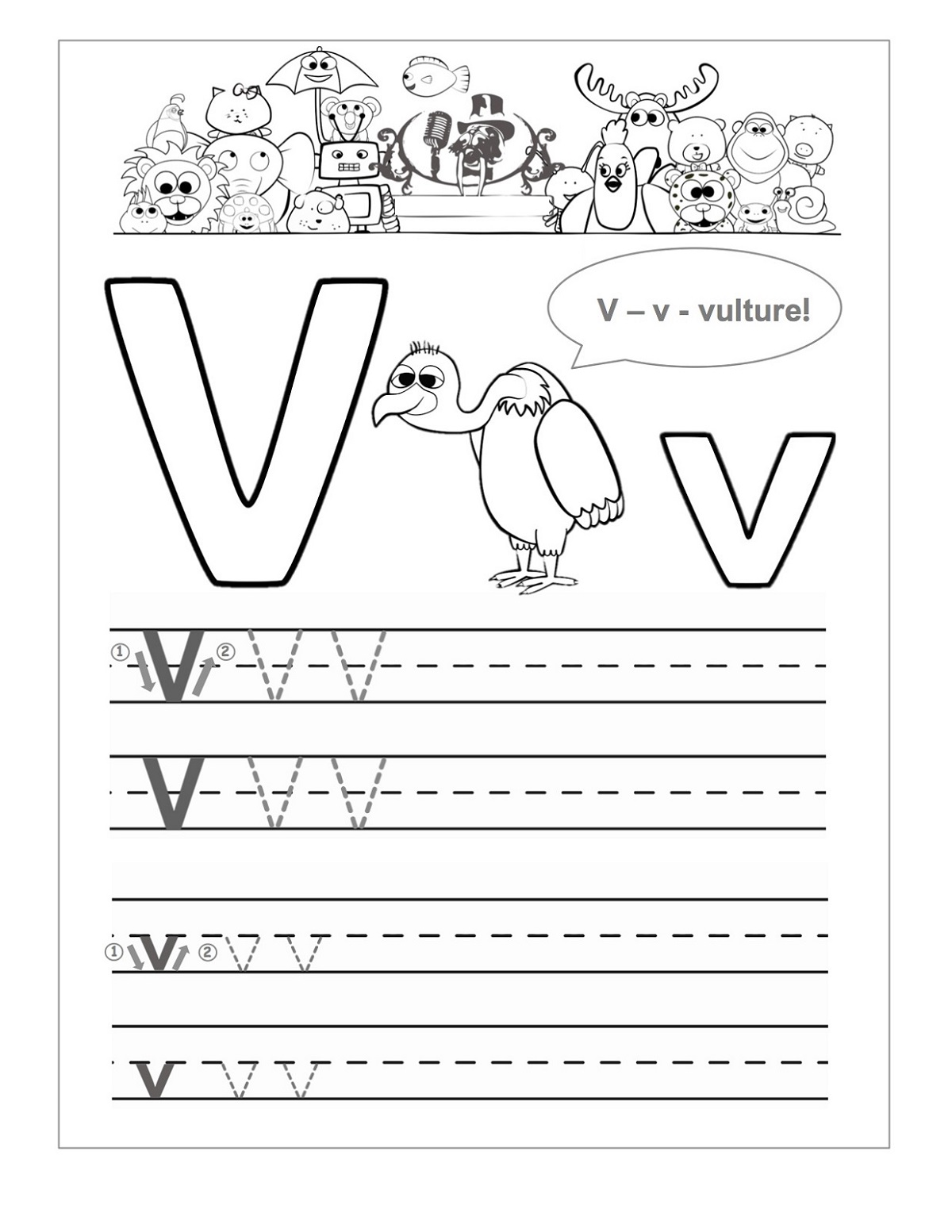 Printable Letter V Worksheets