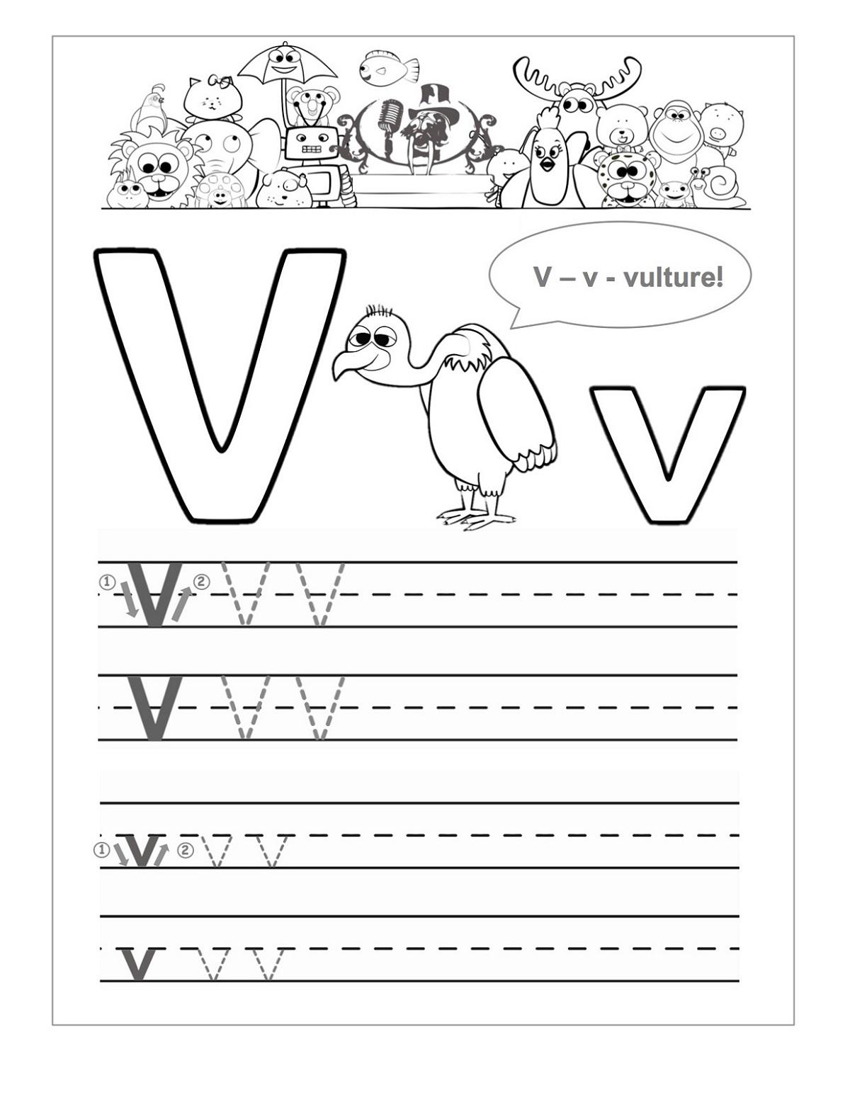 Printable Letter V Worksheets