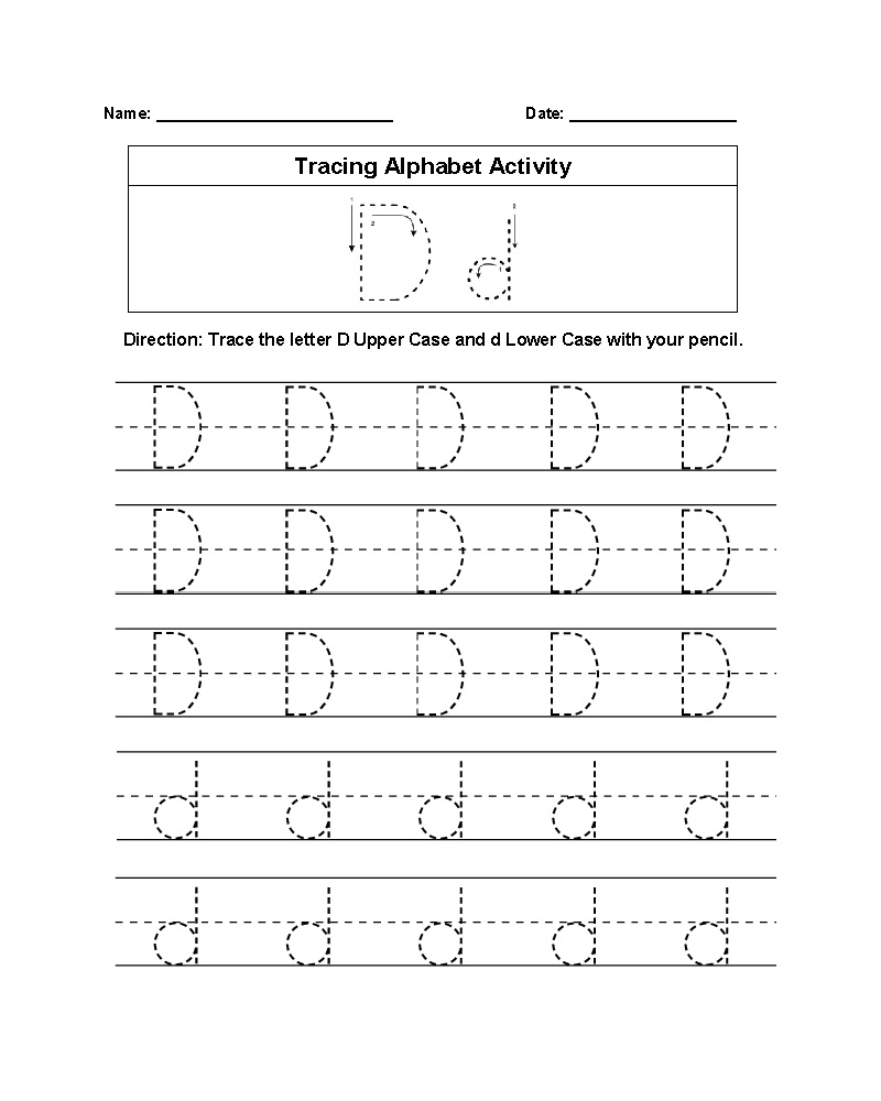 Printable Trace Letter D