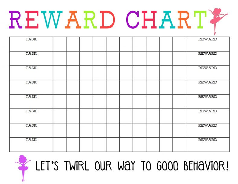 Reward Chart Printable for Girl