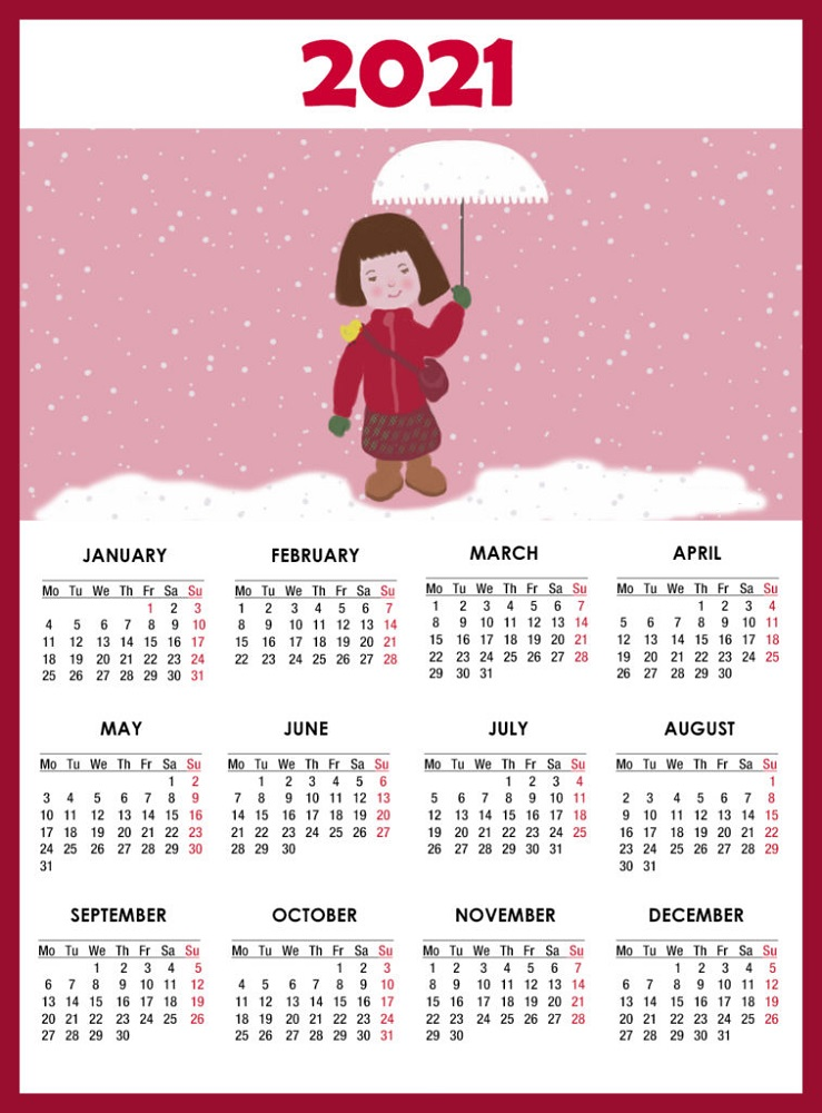 Yearly Calendar 2021 Printable One Page